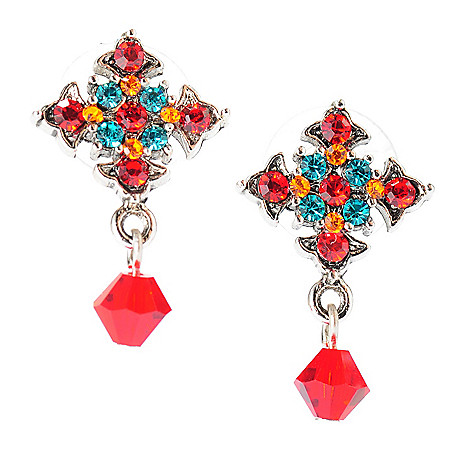137-562 - FAITH 1'' Multi Color Crystal Cross Dangle Earrings