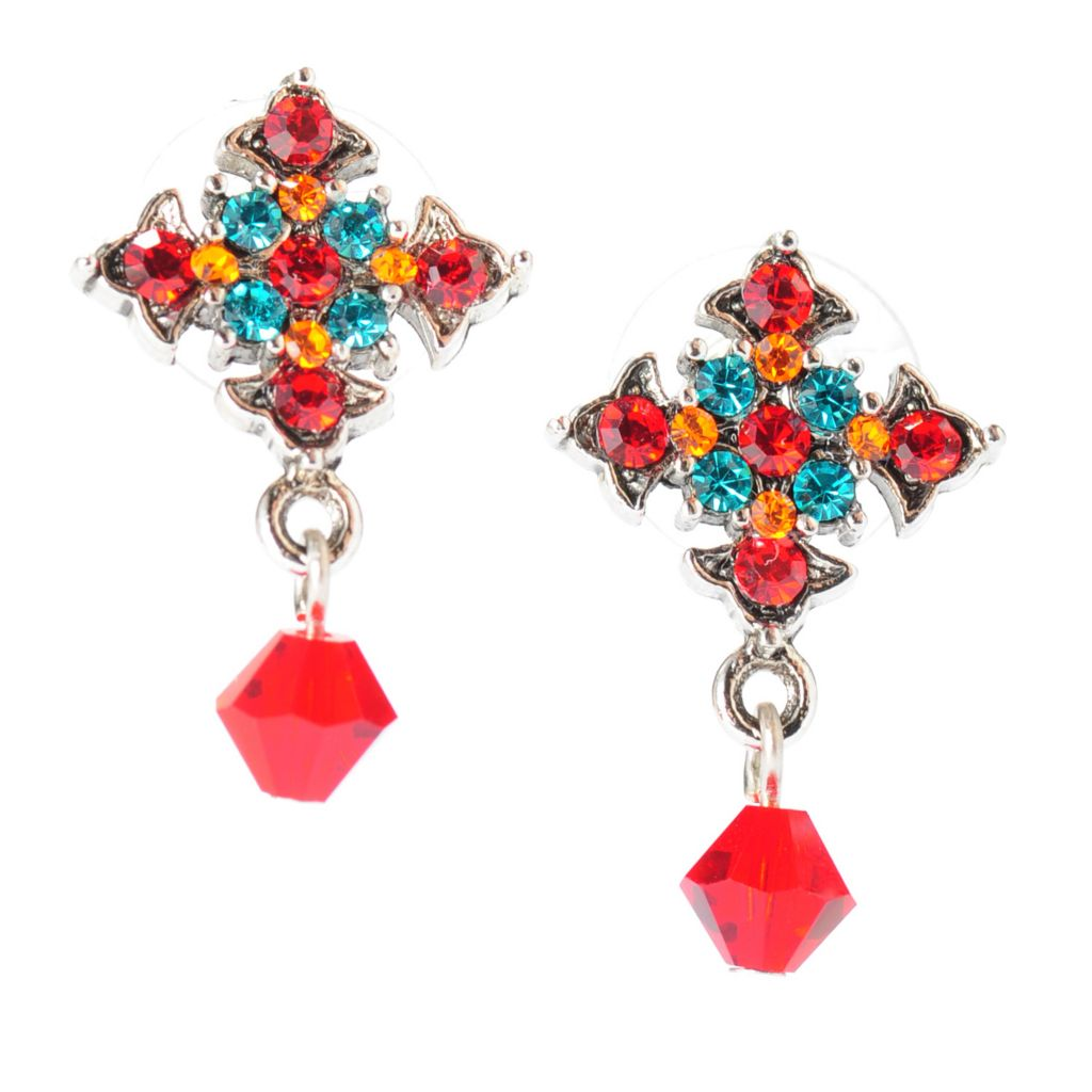 "137-562 - FAITH 1"" Multi Color Crystal Cross Dangle Earrings"