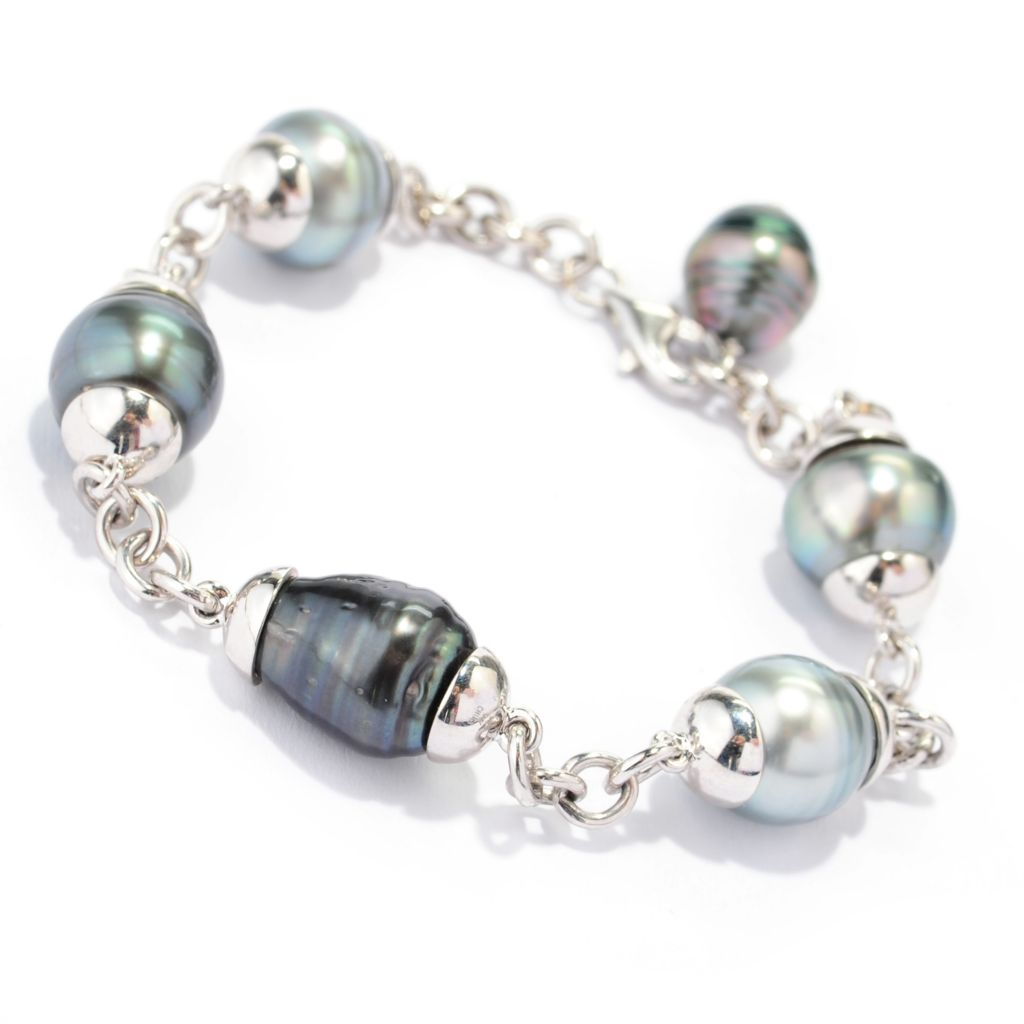 "137-564 - Sterling Silver 8"" 9-12mm Grey Tahitian Cultured Pearl Rolo Link Bracelet"