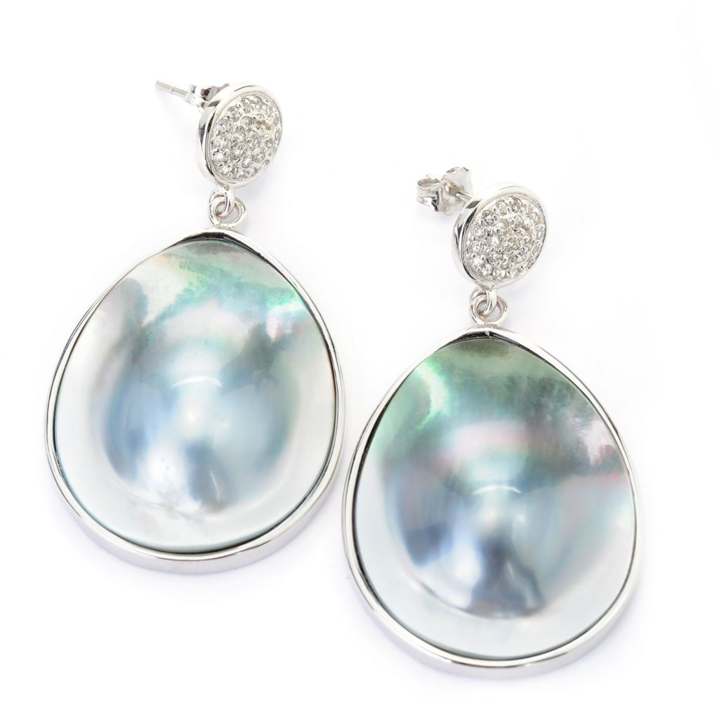 "137-567 - Sterling Silver 1.75"" 30 x 24mm Black Tahitian Cultured Pearl & White Topaz Drop Earrings"
