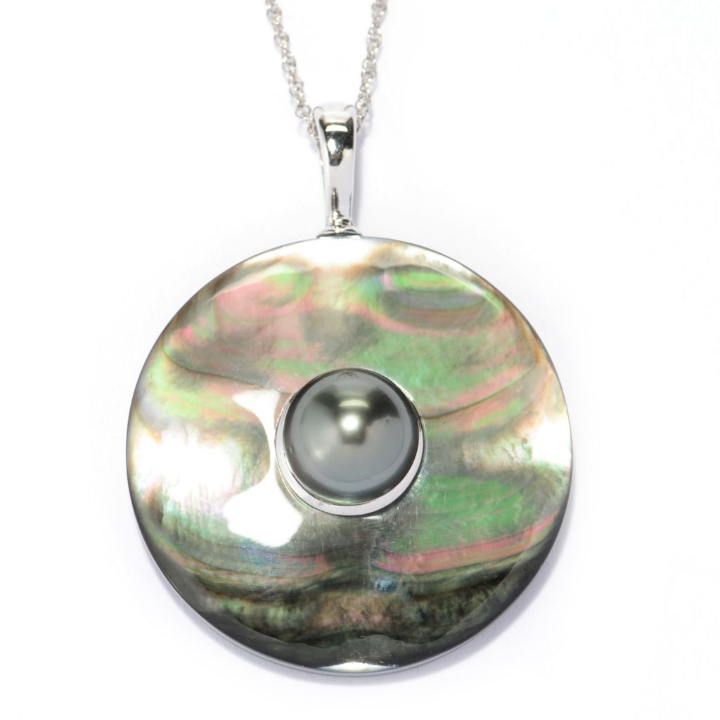 "137-568 - Sterling Silver Black Tahitian Cultured Pearl & Black Mother-of-Pearl Enhancer w/ 18"" Chain"