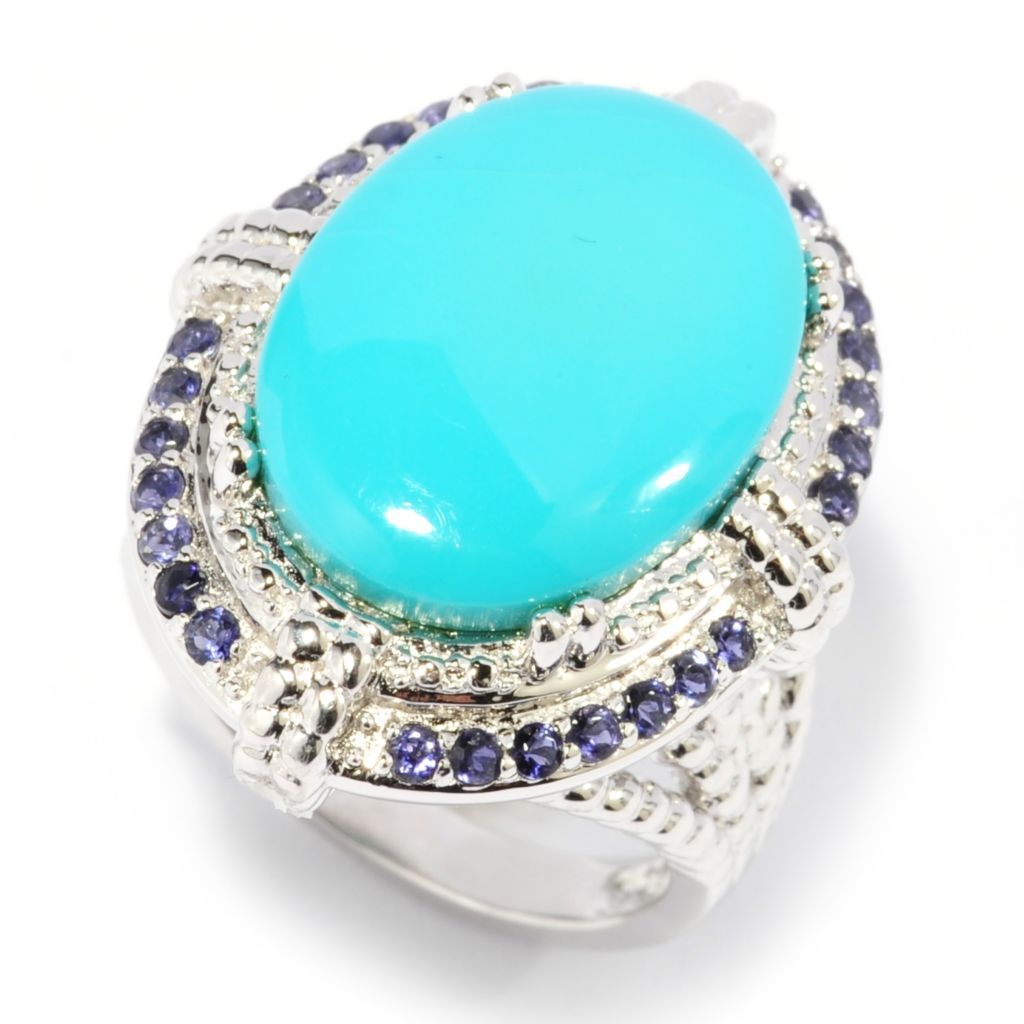 137-569 - Gem Insider Sterling Silver 18 x 13mm Sleeping Beauty Turquoise & Iolite Halo Ring