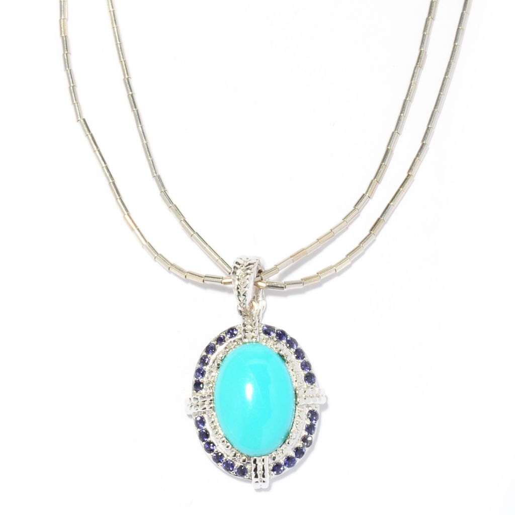 137-570 - Gem Insider Sterling Silver 13 x 9mm Sleeping Beauty Turquoise & Iolite Pendant