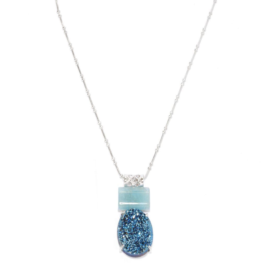 137-574 - Gem Insider Sterling Silver 20 x 15mm Blue Drusy Agate & Aquamarine Pendant