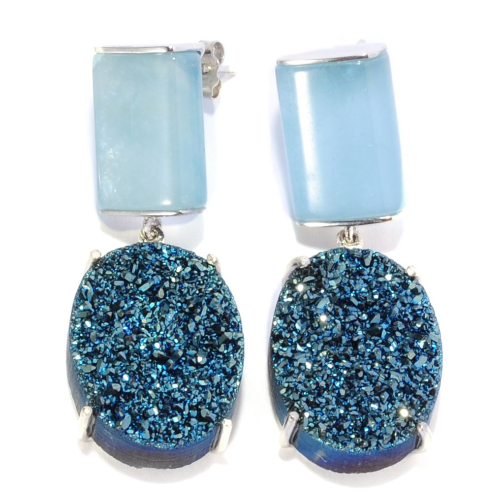 "137-575 - Gem Insider Sterling Silver 1.5"" Aquamarine & Blue Drusy Agate Drop Earrings"