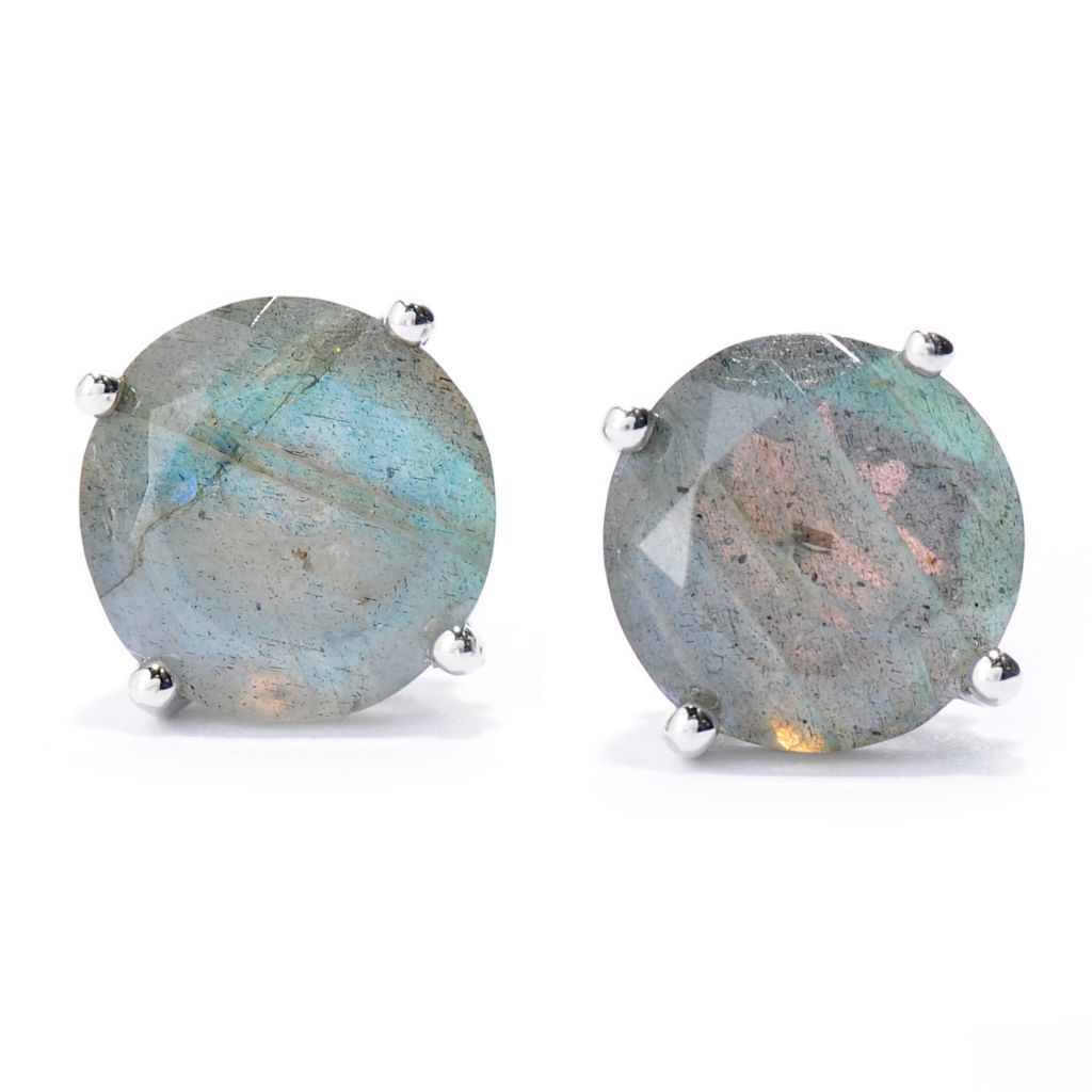 137-579 - Gem Insider Sterling Silver 10mm Round Labradorite Stud Earrings