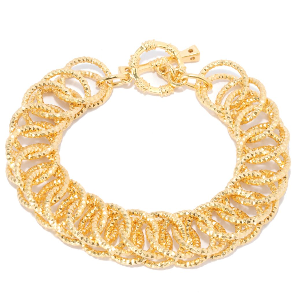 137-581 - Antalia™ Turkish Jewelry 18K Gold Embraced™ Diamond Cut Toggle Bracelet
