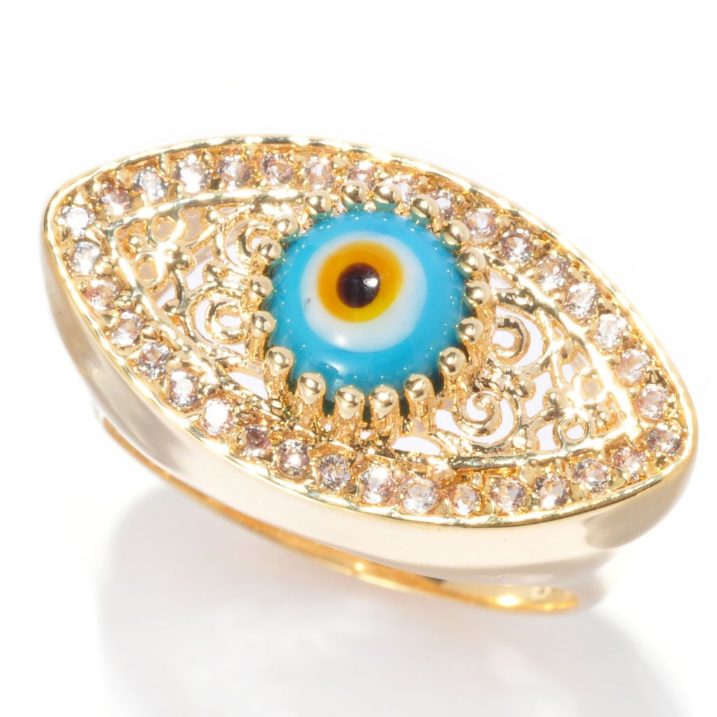 137-582 - Antalia™ Turkish Jewelry 18K Gold Embraced™ 1.70ctw Topaz Evil Eye Ring