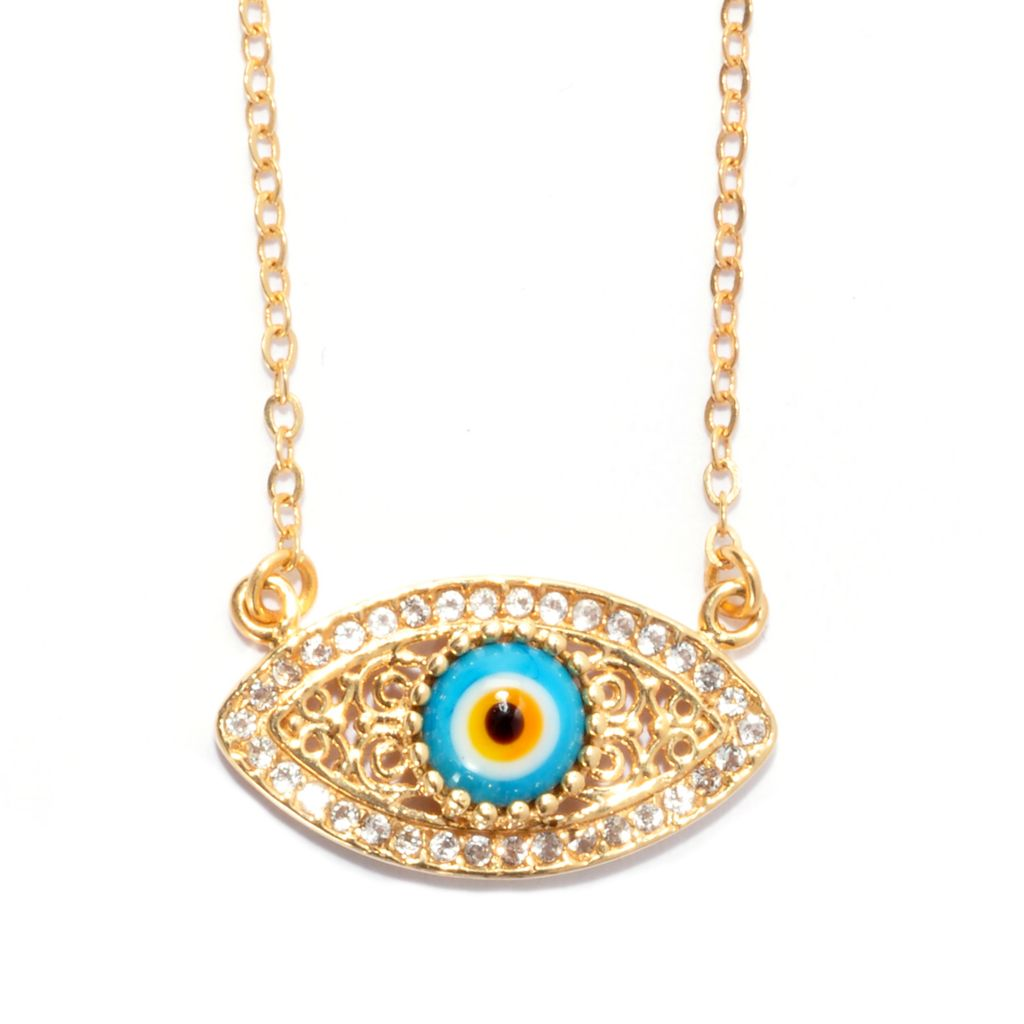 "137-583 - Antalia™ Turkish Jewelry 18K Gold Embraced™ 18"" 1.70ctw Topaz Evil Eye Necklace"