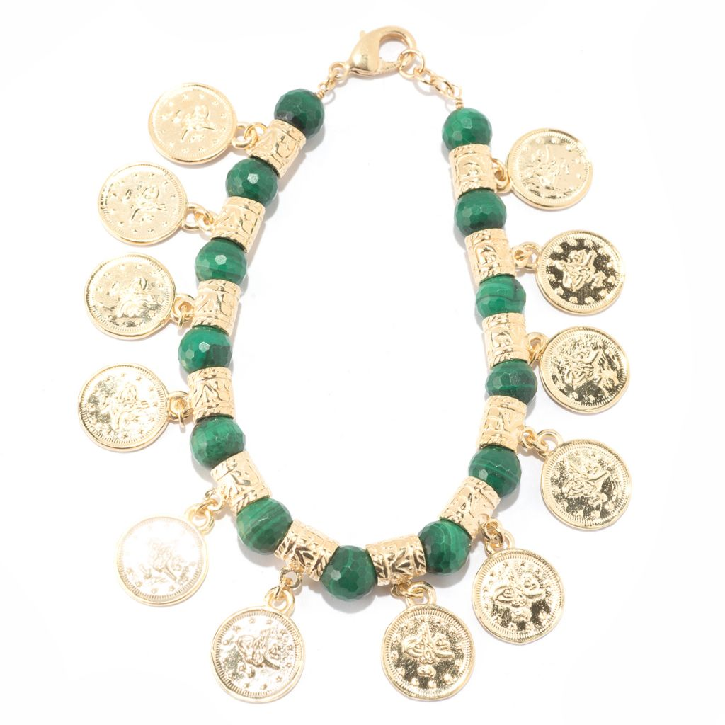"137-585 - Antalia™ Turkish Jewelry 18K Gold Embraced™ 8"" Gemstone & Coin Charm Bracelet"