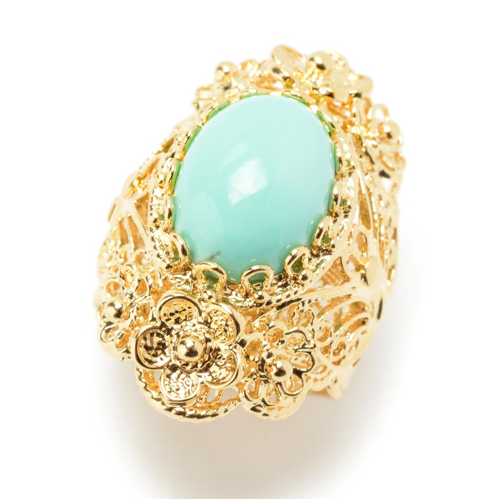 137-586 - Antalia™ Turkish Jewelry 18K Gold Embraced™ Oval Turquoise Filigree Ring