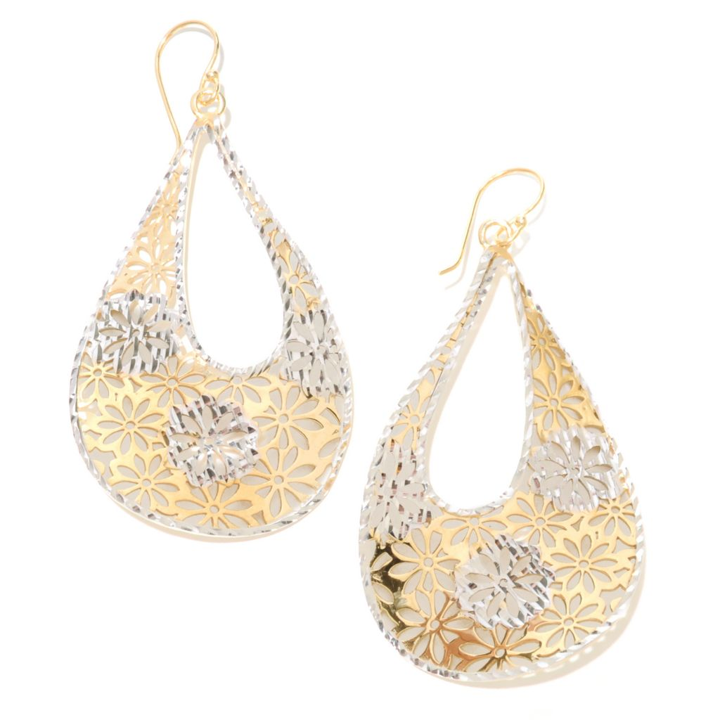 "137-587 - Antalia™ Turkish Jewelry 18K Gold Embraced™ Flower Cut-out 2.5"" Teardrop Earrings"