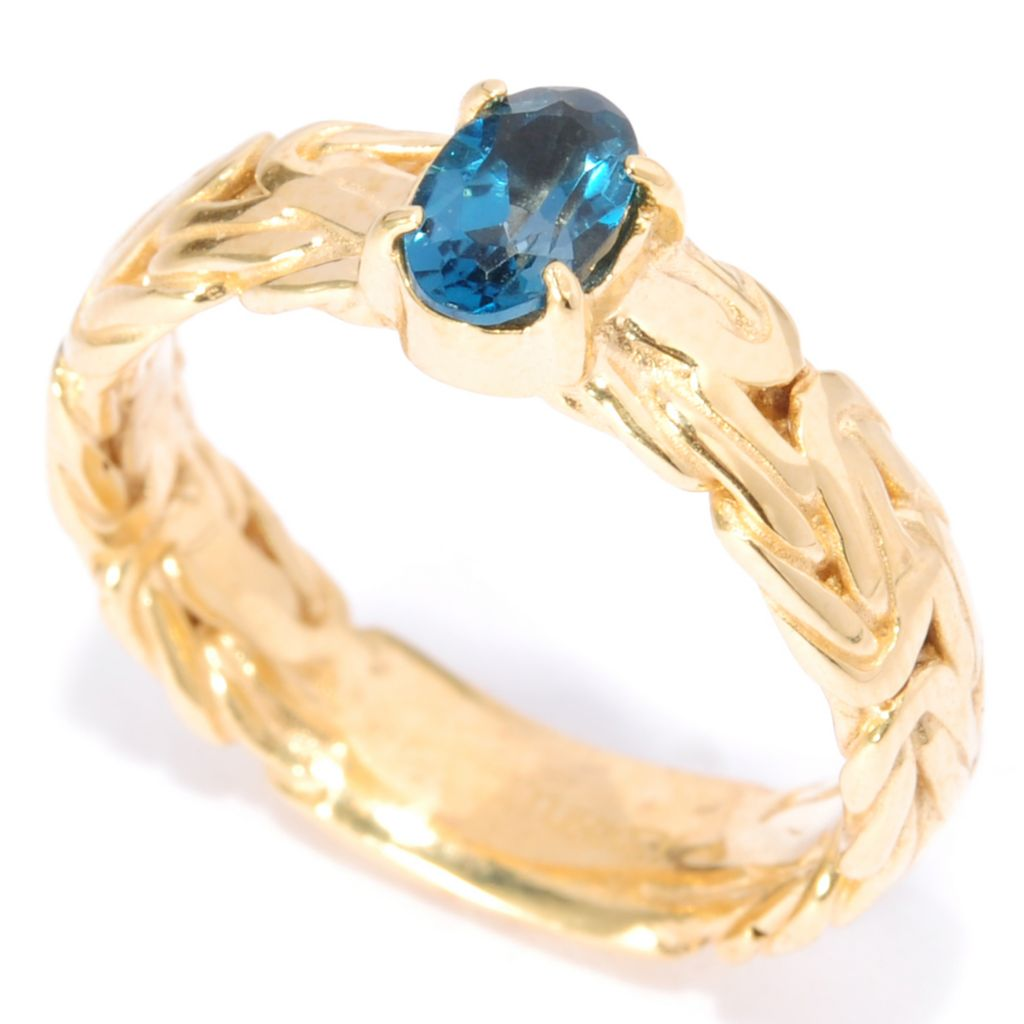 137-588 - Antalia™ Turkish Jewelry 18K Gold Embraced™ Gemstone Byzantine Stack Band Ring