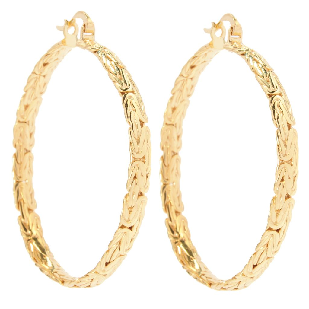 "137-589 - Antalia™ Turkish Jewelry 18K Gold Embraced™ 1.75"" Byzantine Hoop Earrings"