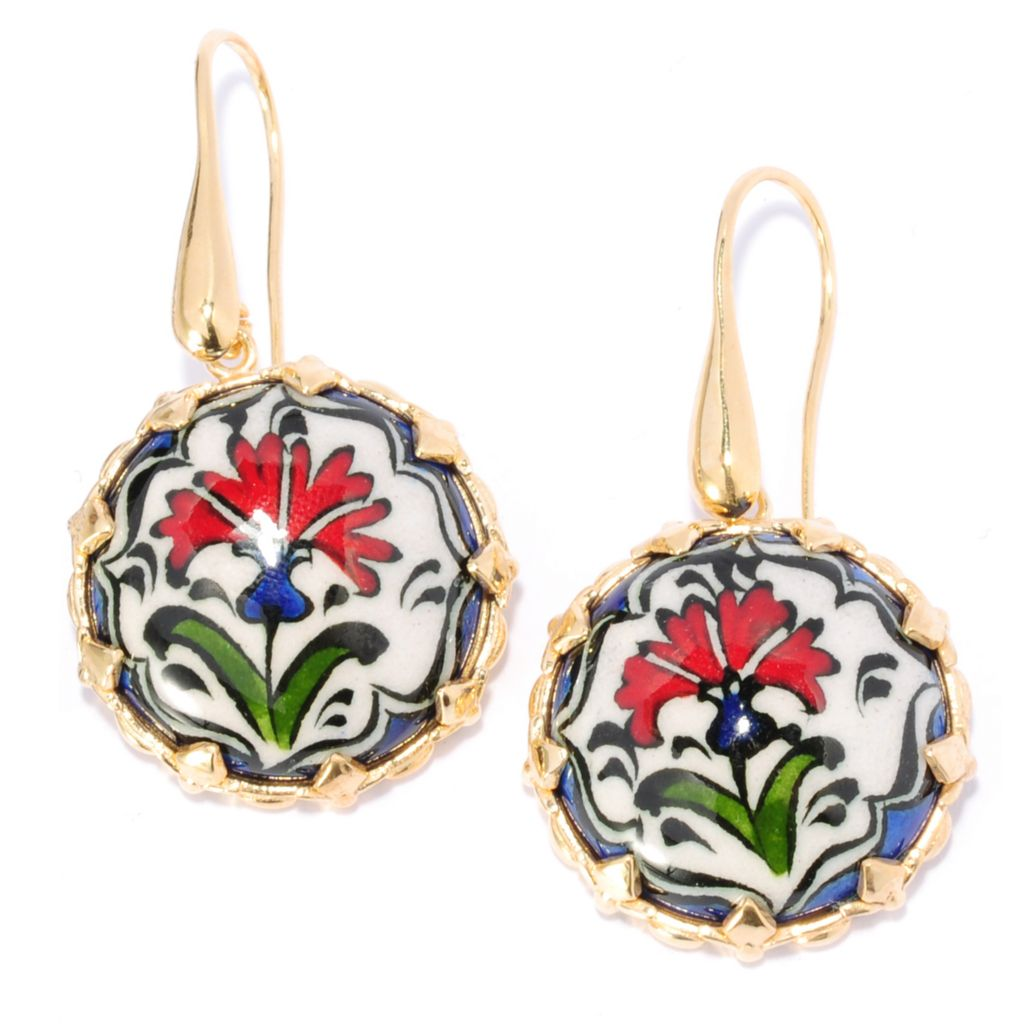 137-592 - Antalia™ Turkish Jewelry 18K Gold Embraced™ Hand-Painted Flower Ceramic Earrings