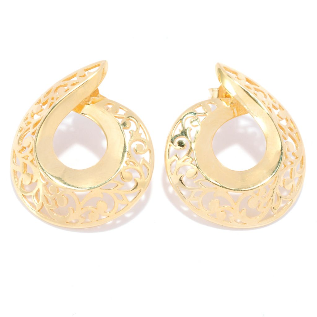 "137-594 - Antalia™ Turkish Jewelry 18K Gold Embraced™ 1"" Floral Cut-out Swirl Earrings"