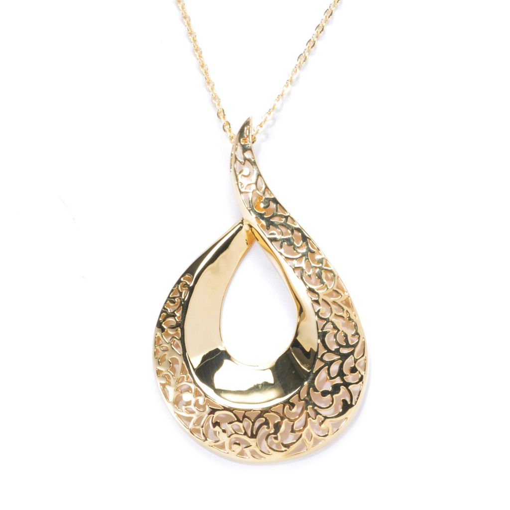 137-595 - Antalia™ Turkish Jewelry 18K Gold Embraced™ Floral Cut-out Swirl Pendant w/ Chain