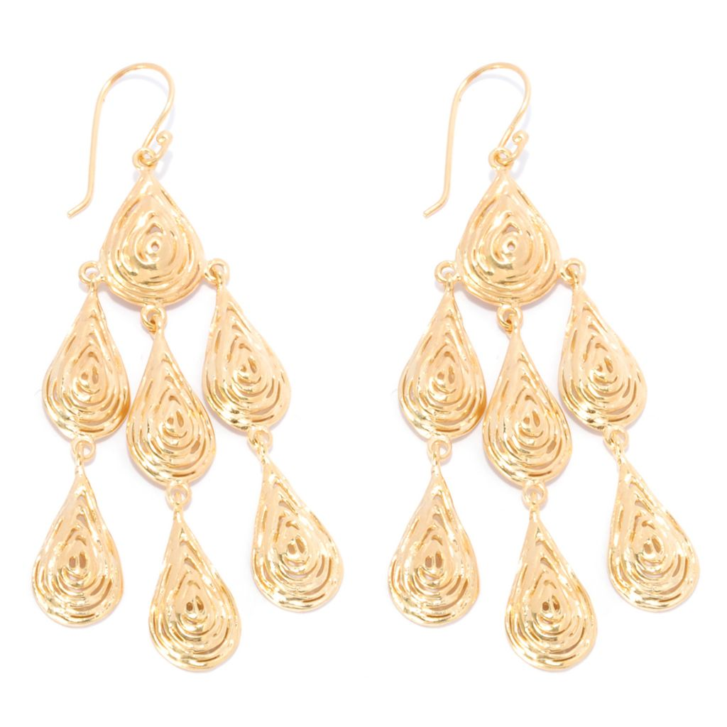 "137-597 - Antalia™ Turkish Jewelry 18K Gold Embraced™ 2.75"" Textured Dangle Earrings"