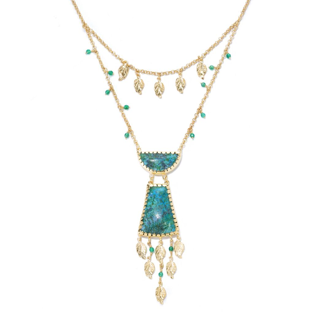 "137-598 - Antalia™ Turkish Jewelry 18K Gold Embraced™ 18"" Chrysocolla & Agate Tiered Necklace"