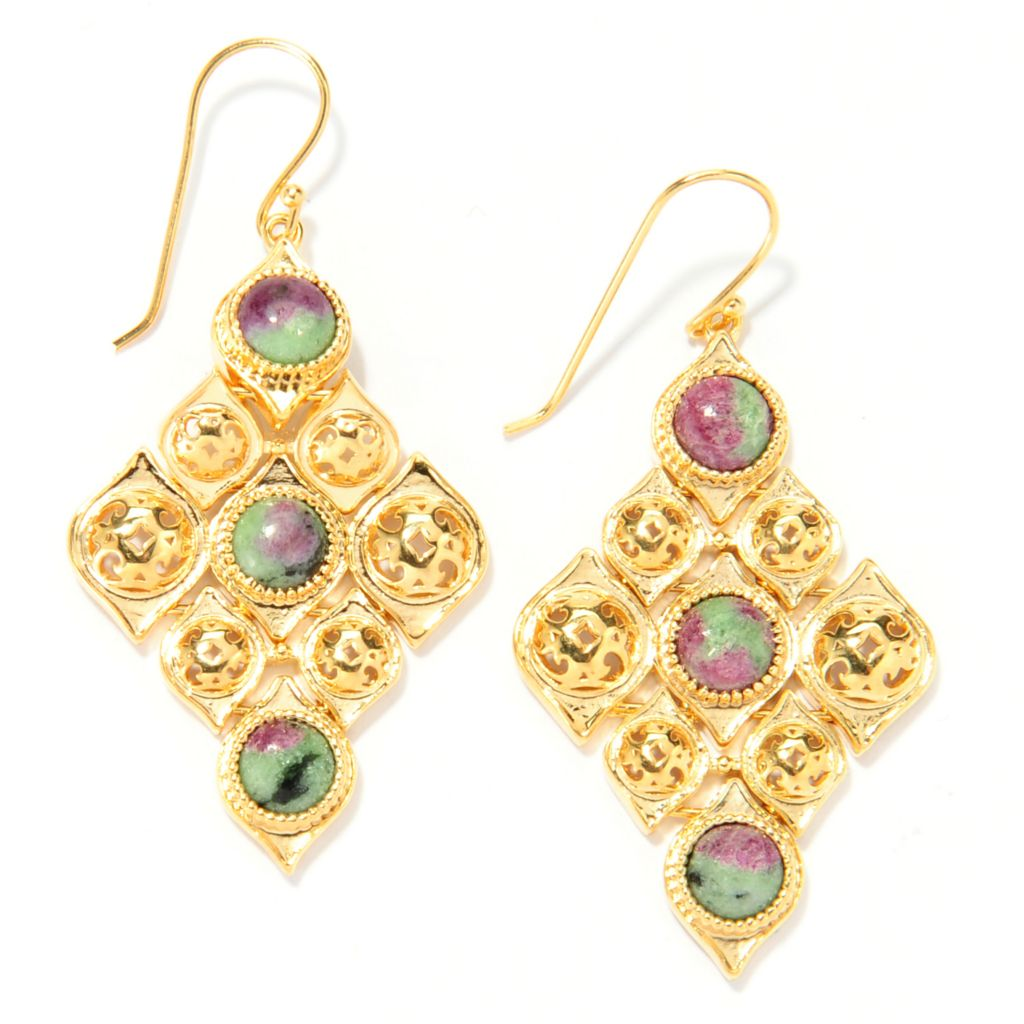 "137-599 - Antalia™ Turkish Jewelry 18K Gold Embraced™ 2"" Round Gemstone Drop Earrings"
