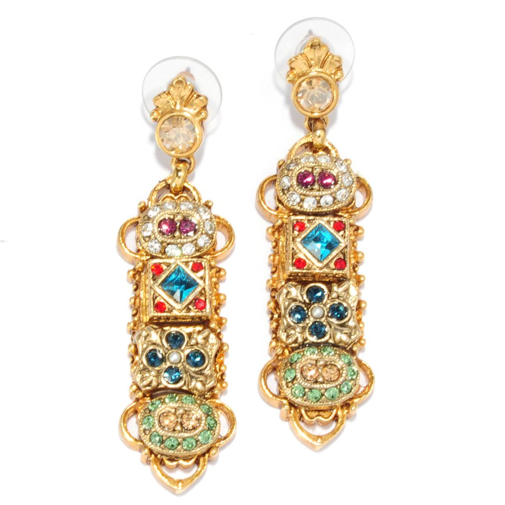 "137-603 - Sweet Romance™ 2.25"" Multi Color Crystal & Glass Textured Linear Drop Earrings"