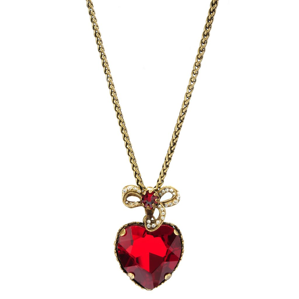 "137-611 - Sweet Romance™ 29"" Crystal Heart & Bow Drop Necklace"
