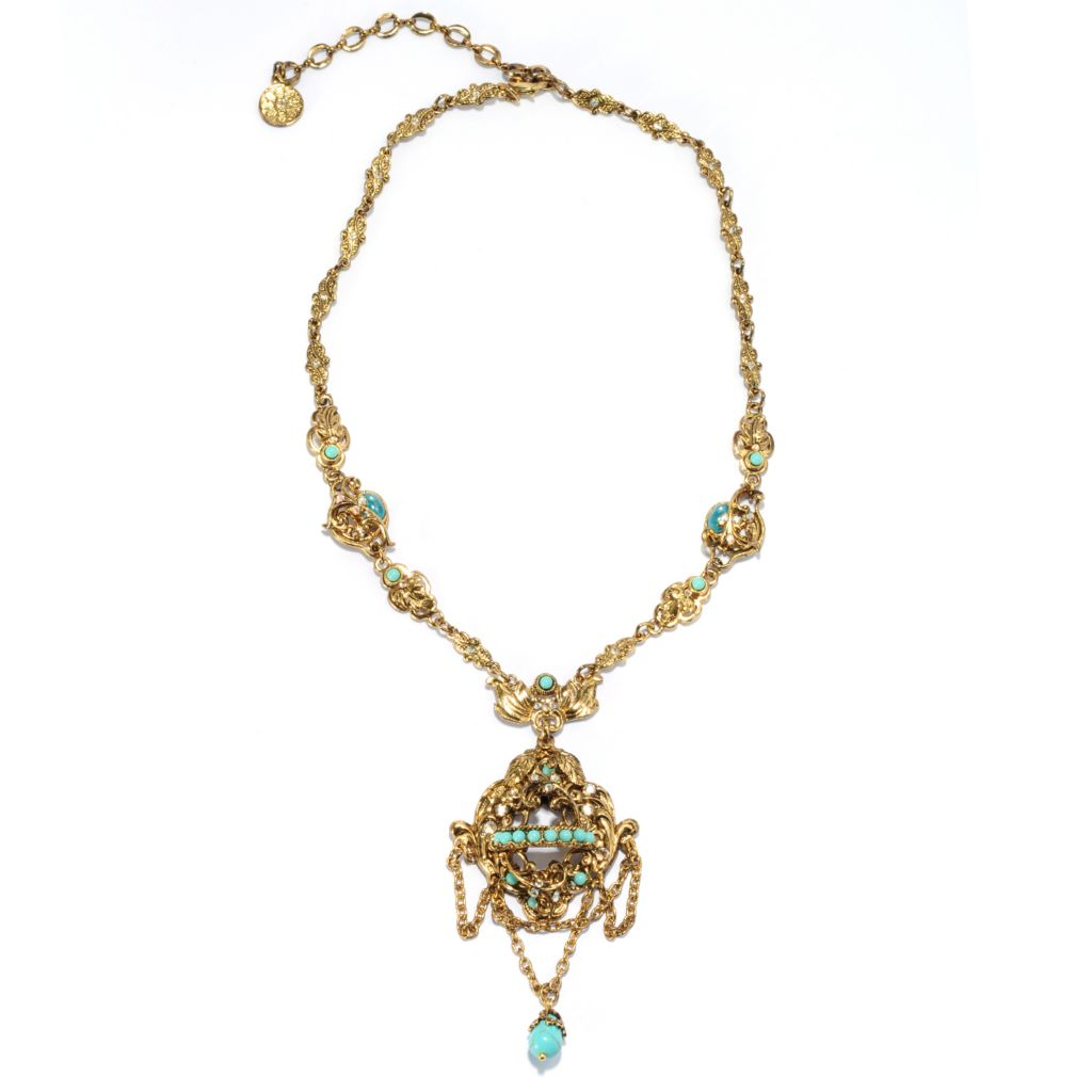 """137-617 - Sweet Romance™ 17"""" 11 x 8mm Magnesite, Crystal & Glass Fancy Chain Necklace"""
