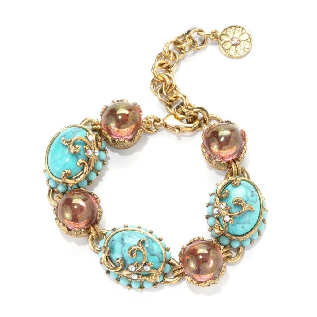 "137-618 - Sweet Romance™ 6.5"" Teal & Pink Crystal Textured Bracelet w/ 2"" Extender"