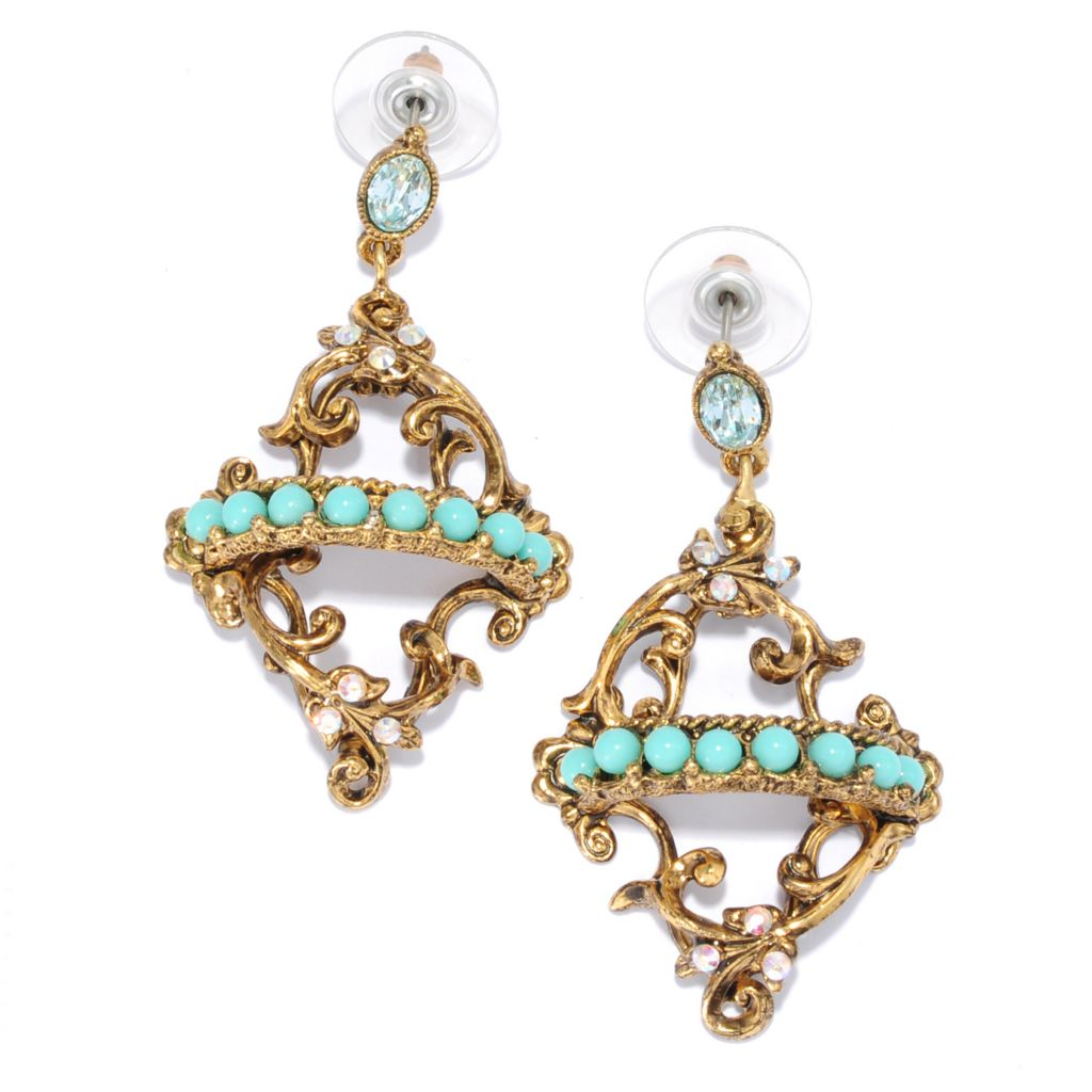 "137-619 - Sweet Romance™ 2"" Crystal & Glass Regency-Style Scrollwork Drop Earrings"