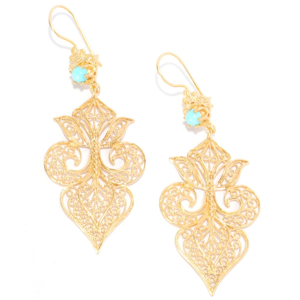 "137-626 - Antalia™ Turkish Jewelry 18K Gold Embraced™ Turquoise Filigree 2.75"" Drop Earrings"