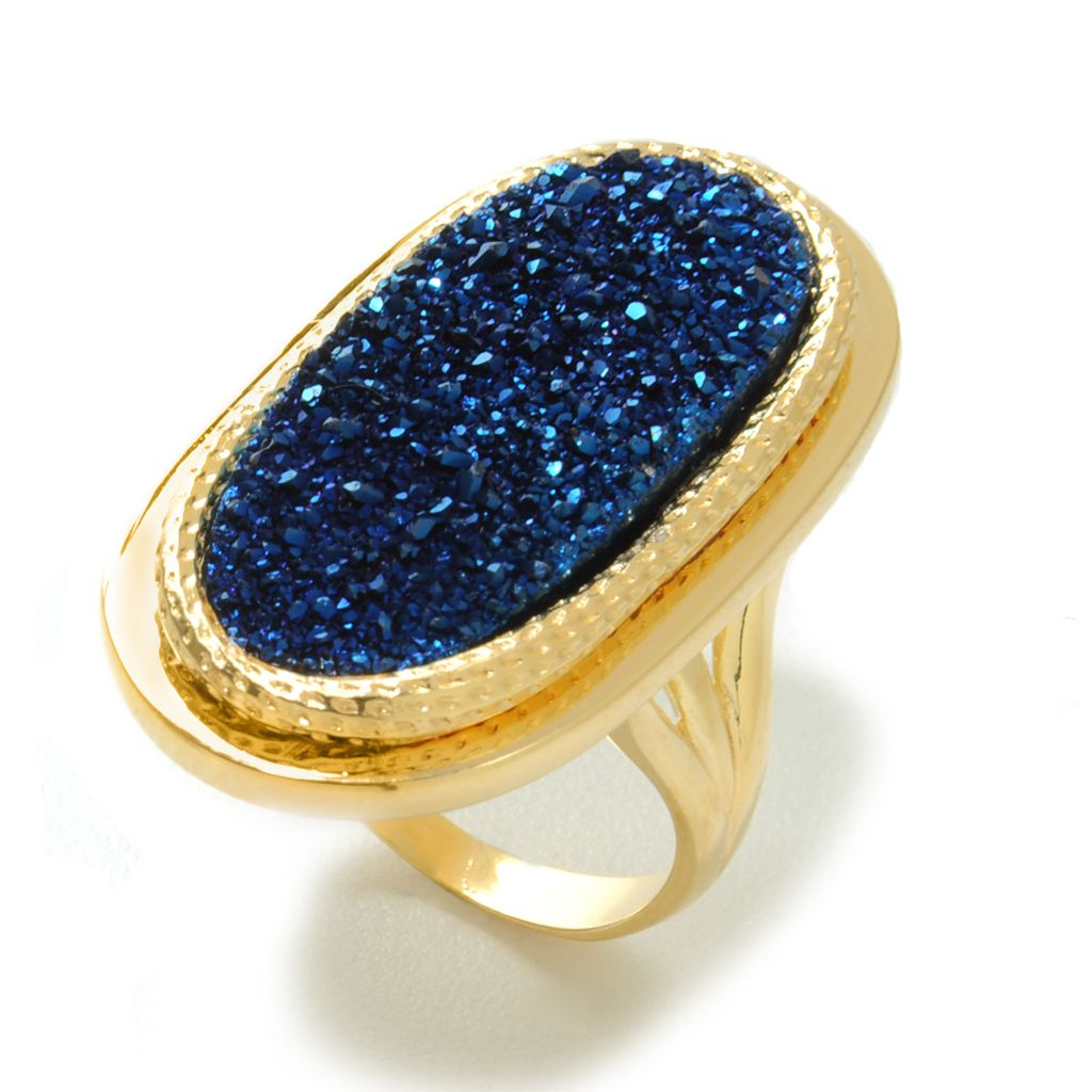 137-631 - Portofino 18K Gold Embraced™ 27 x 12mm Oval Blue Drusy Textured Ring