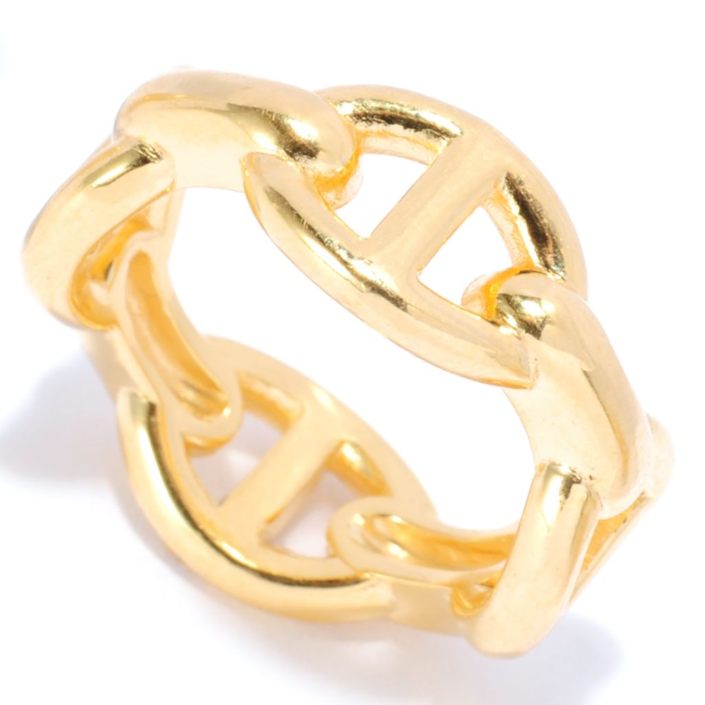 137-633 - Portofino 18K Gold Embraced™ Polished Horsebit Link Band Ring