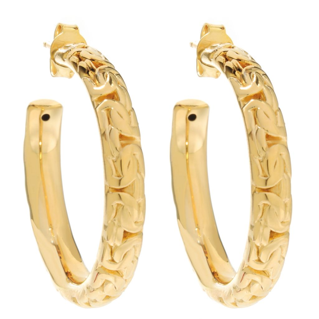 "137-637 - Portofino 18K Gold Embraced™ 1.25"" Polished Byzantine Link Hoop Earrings"