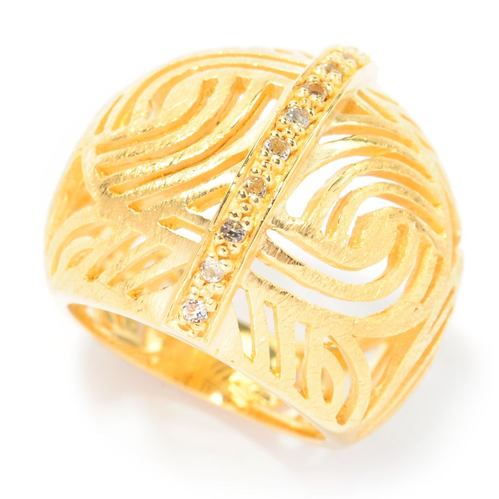 137-644 - Toscana Italiana 18K Gold Embraced™ White Topaz Textured Cut-out Panel Ring