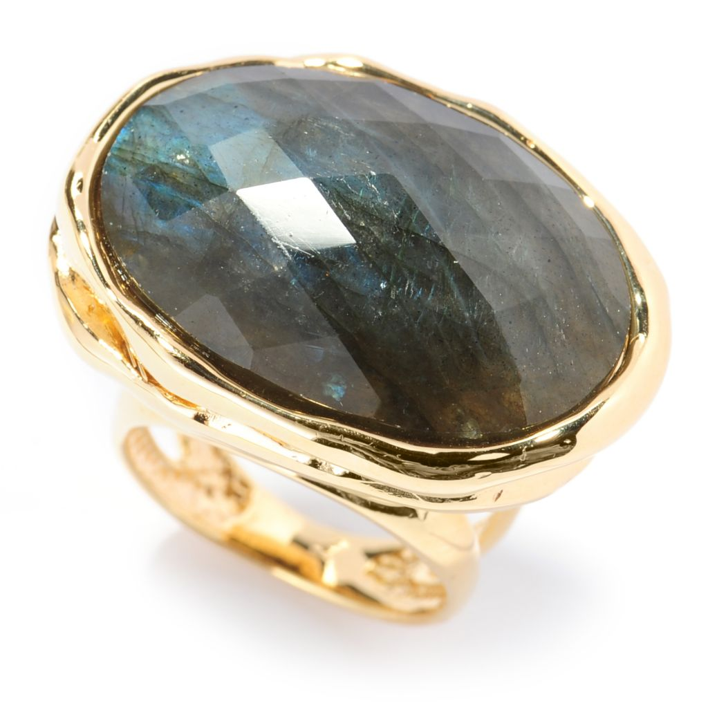 137-645 - Toscana Italiana 18K Gold Embraced™ 25 x 18mm Labradorite Hammered Ring