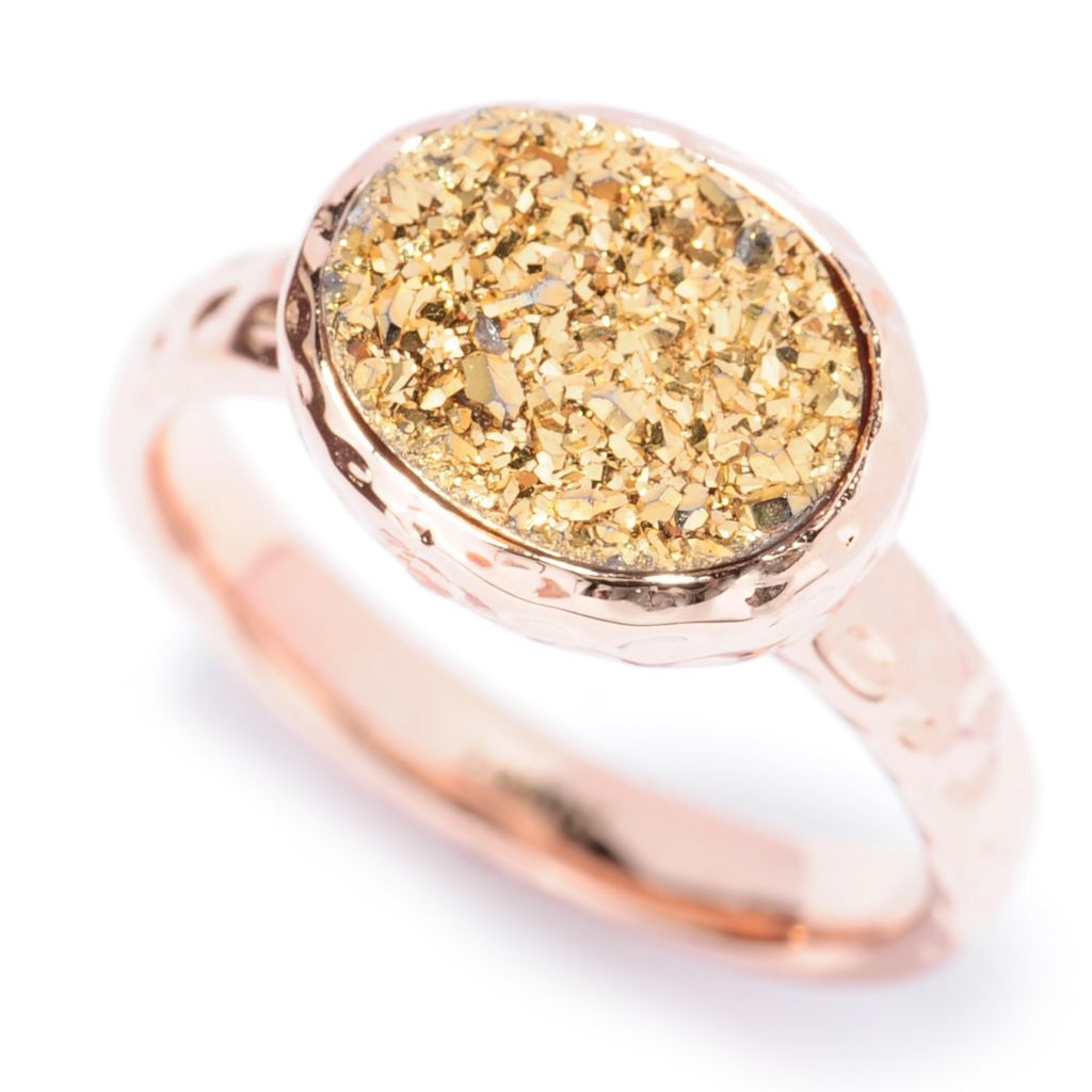 137-646 - Toscana Italiana 18K Gold Embraced™ 10 x 8mm Oval Drusy Hammered Ring