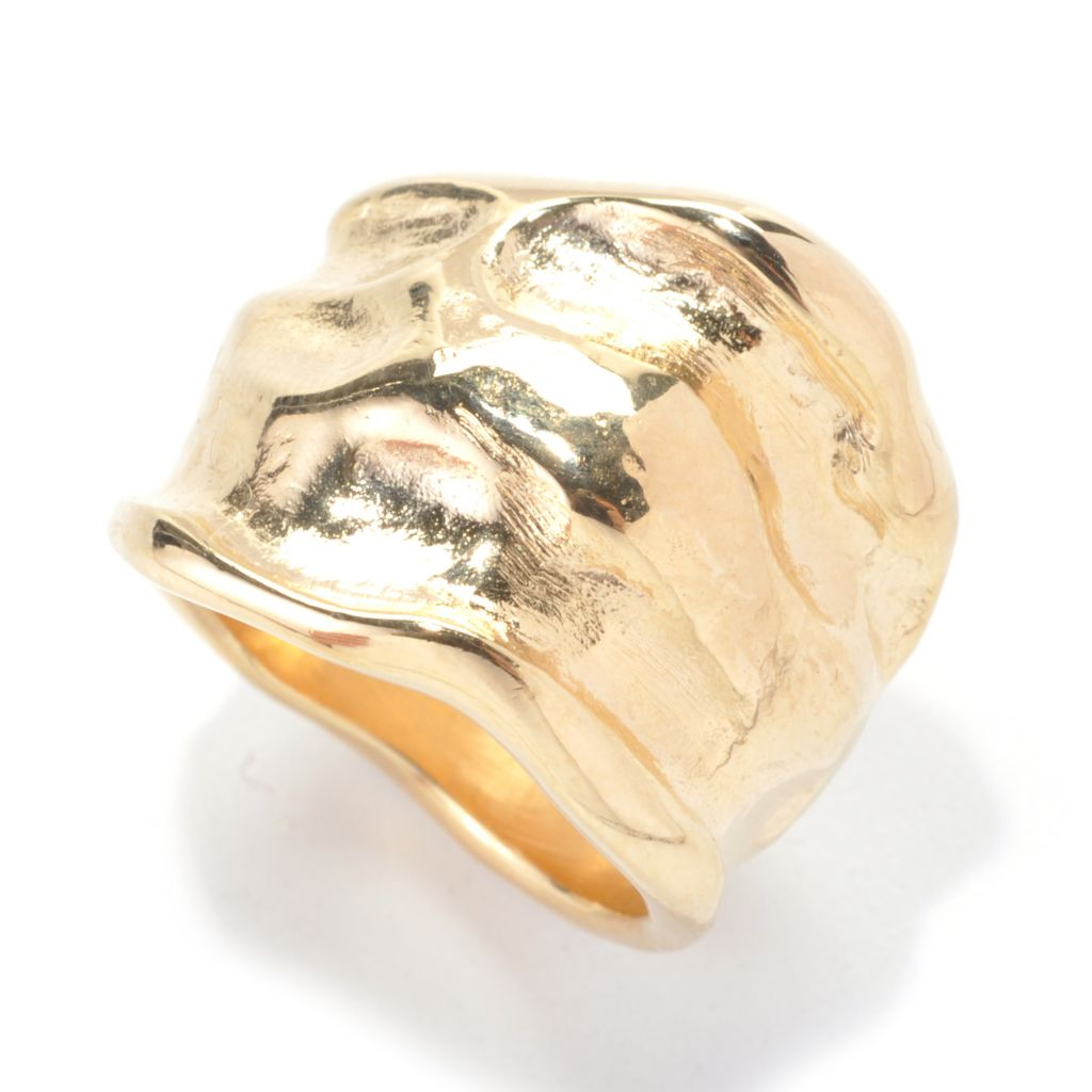 137-648 - Toscana Italiana 18K Gold Embraced™ Hammered Freeform Wide Band Ring