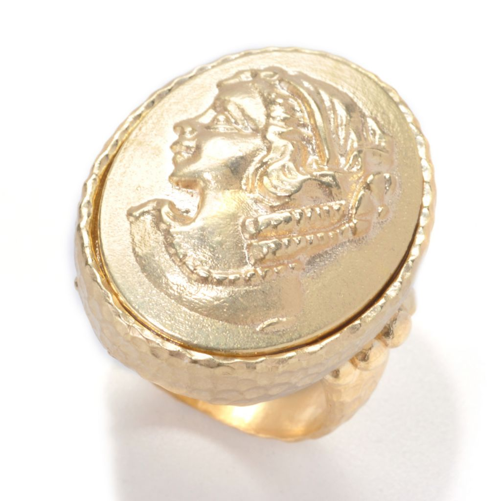 137-649 - Toscana Italiana 18K Gold Embraced™ Mythological Icon Intaglio Hammered Ring
