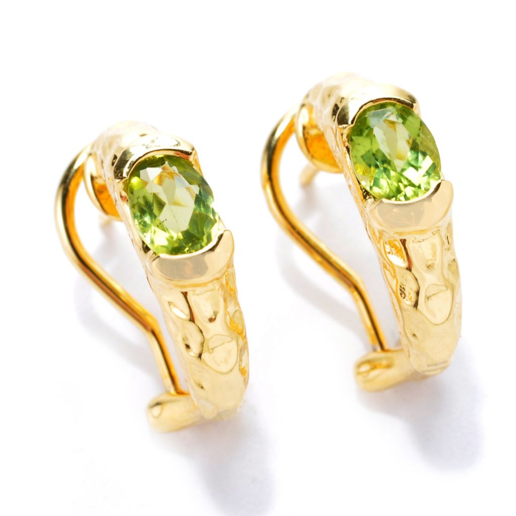 137-650 - Toscana Italiana 18K Gold Embraced™ 1.30ctw Gemstone Hammered Huggie Hoop Earrings