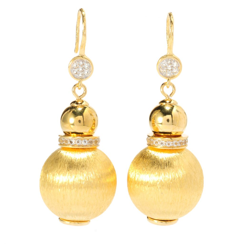 "137-652 - Toscana Italiana 18K Gold Embraced™ 2"" White Topaz Double Bead Drop Earrings"