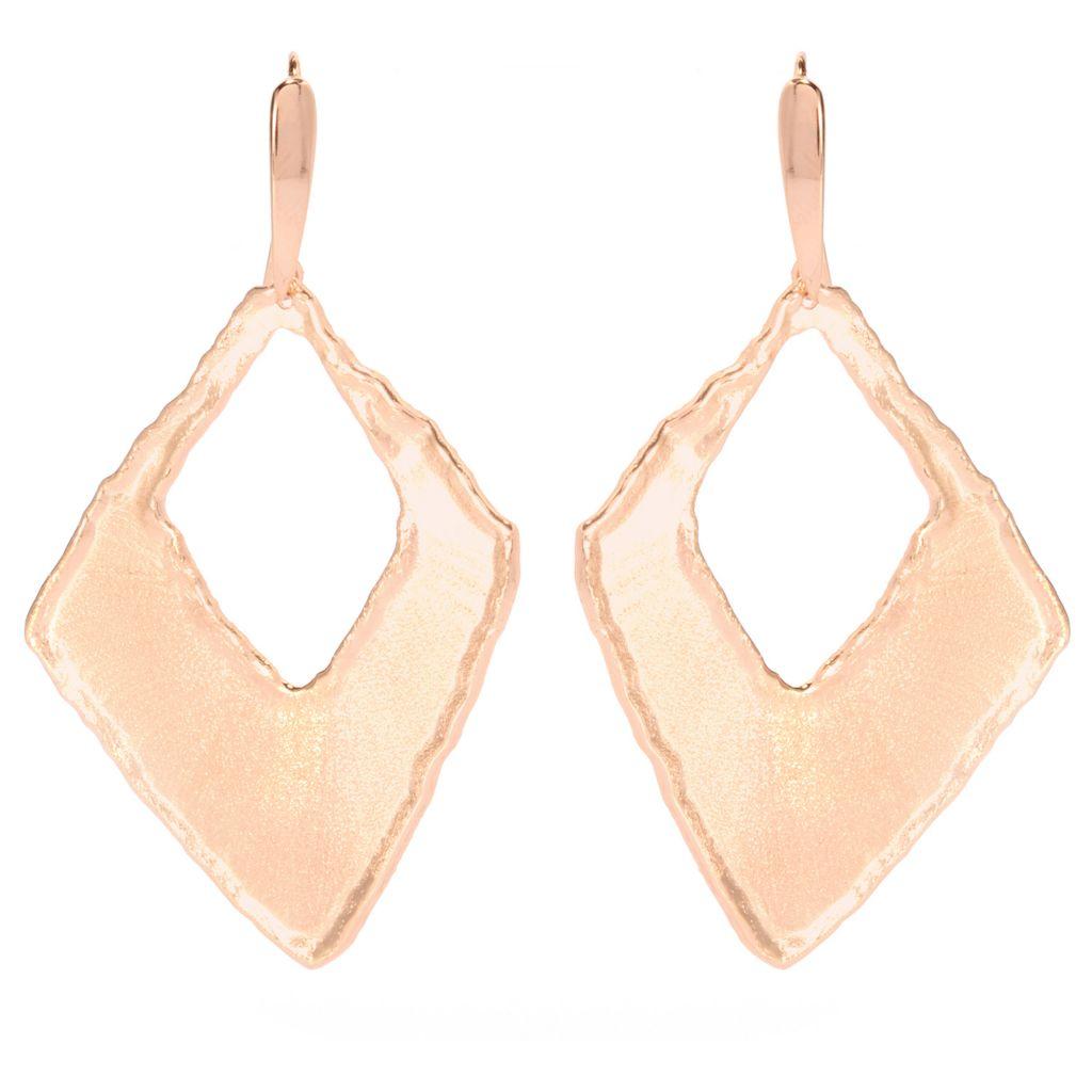 "137-653 - Toscana Italiana 18K Gold Embraced™ 2"" Satin Finished Freeform Cut-out Drop Earrings"