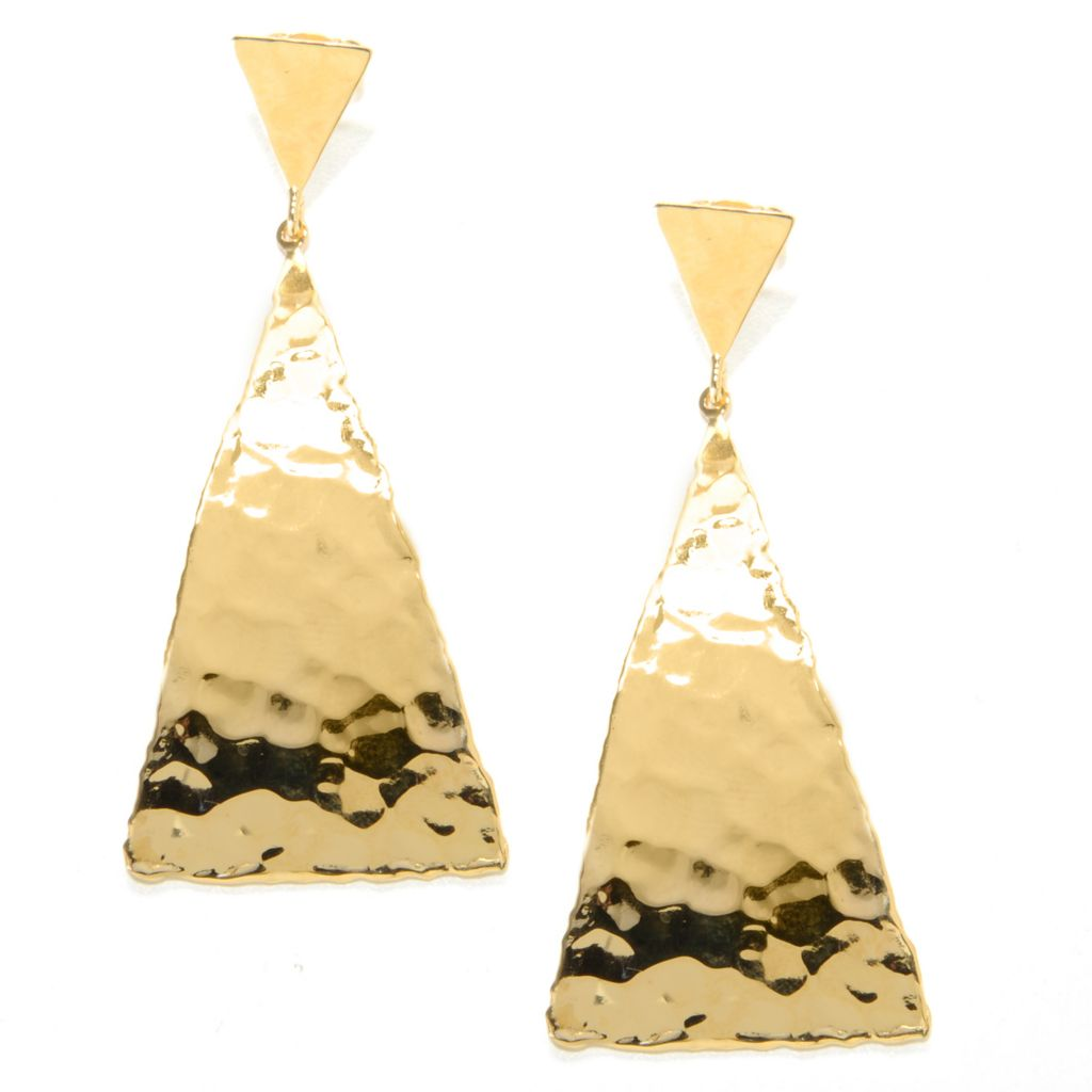 "137-654 - Toscana Italiana 18K Gold Embraced™ 2.25"" Hammered Elongated Triangle Drop Earrings"