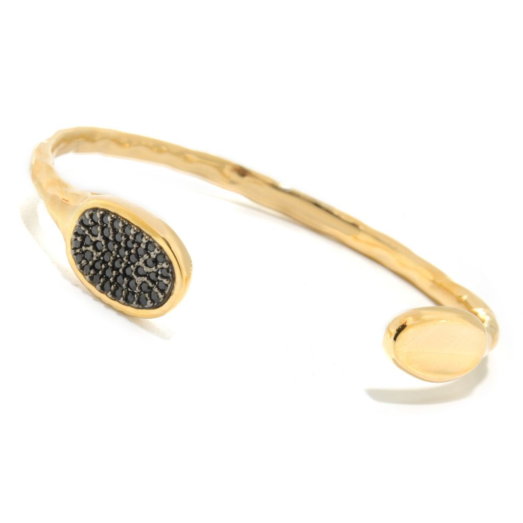 "137-655 - Toscana Italiana 18K Gold Embraced™ 6.75"" 1.26ctw Black Spinel Cuff Bracelet"