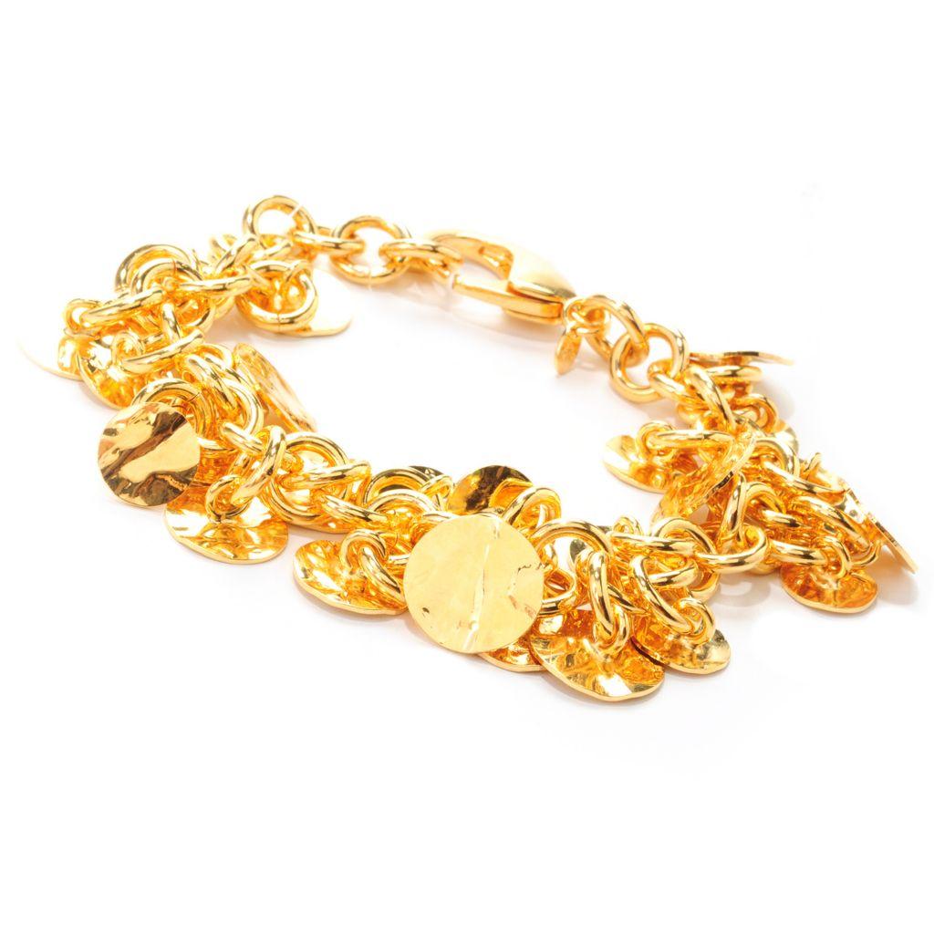 """137-659 - Toscana Italiana 18K Gold Embraced™ 7.25"""" Hammered Disk Charm Rolo Link Bracelet"""