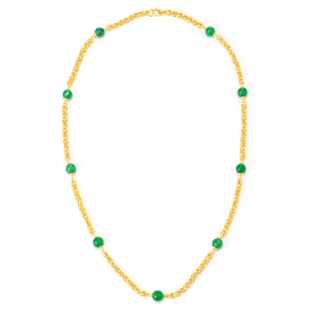 "137-661 - Toscana Italiana 18K Gold Embraced™ 30"" 10mm Gemstone Byzantine Link Station Necklace"