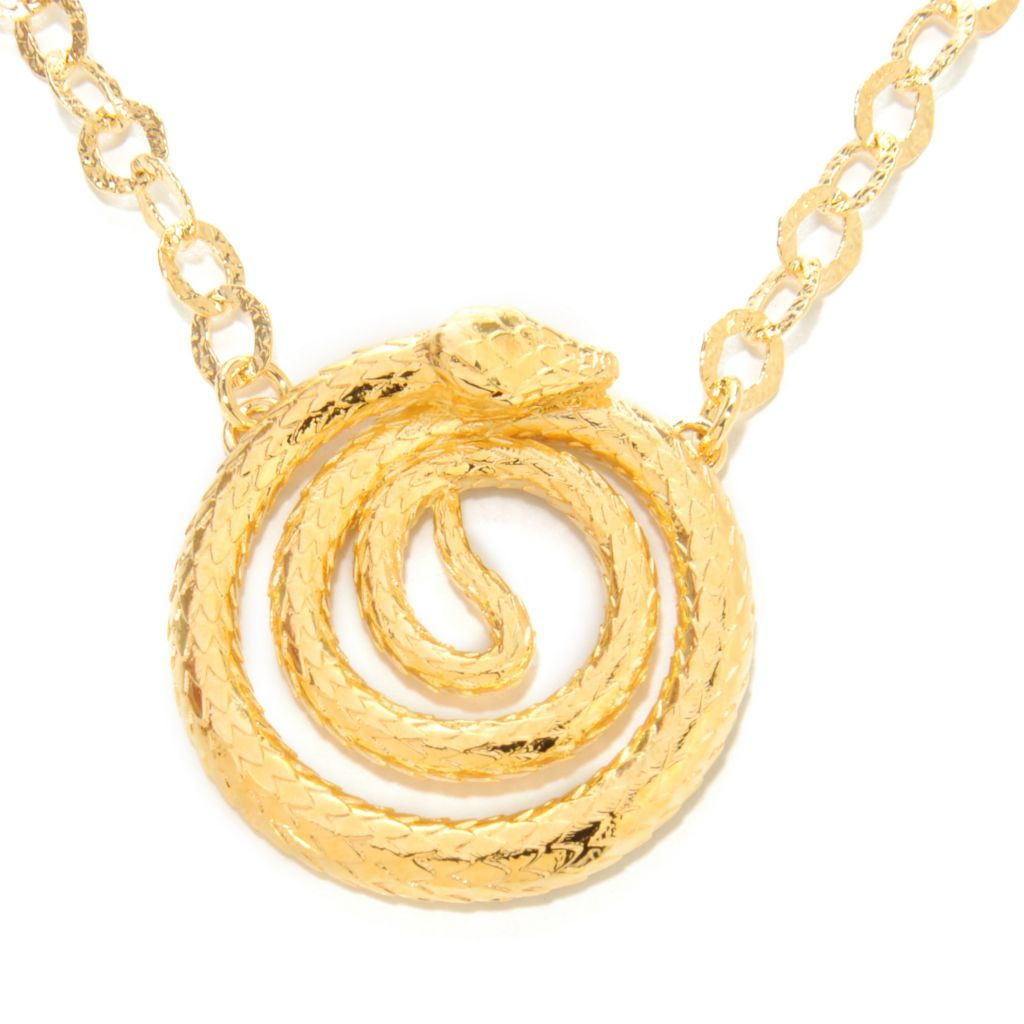 "137-662 - Toscana Italiana 18K Gold Embraced™ 18"" Textured Coiled Snake Rolo Link Necklace"