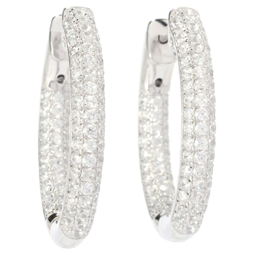 "137-669 - Gem Treasures Sterling Silver 1"" 3.32ctw Zircon Inside-Out Hoop Earrings"