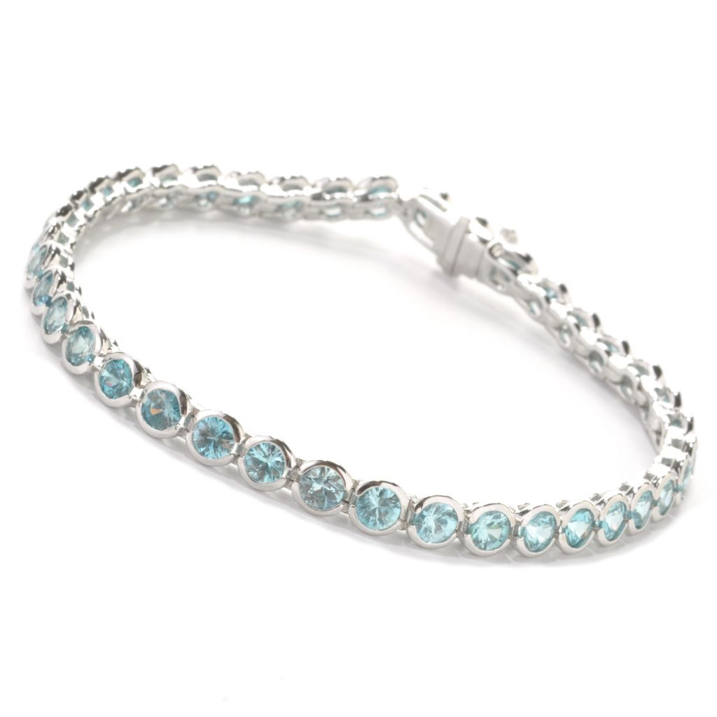 137-670 - Gem Treasures Sterling Silver 11.32ctw Round Fancy Color Zircon Link Bracelet