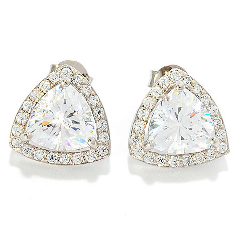 137-673 - Brilliante® 3.86 DEW Trillion & Round Cut Simulated Diamond Halo Stud Earrings