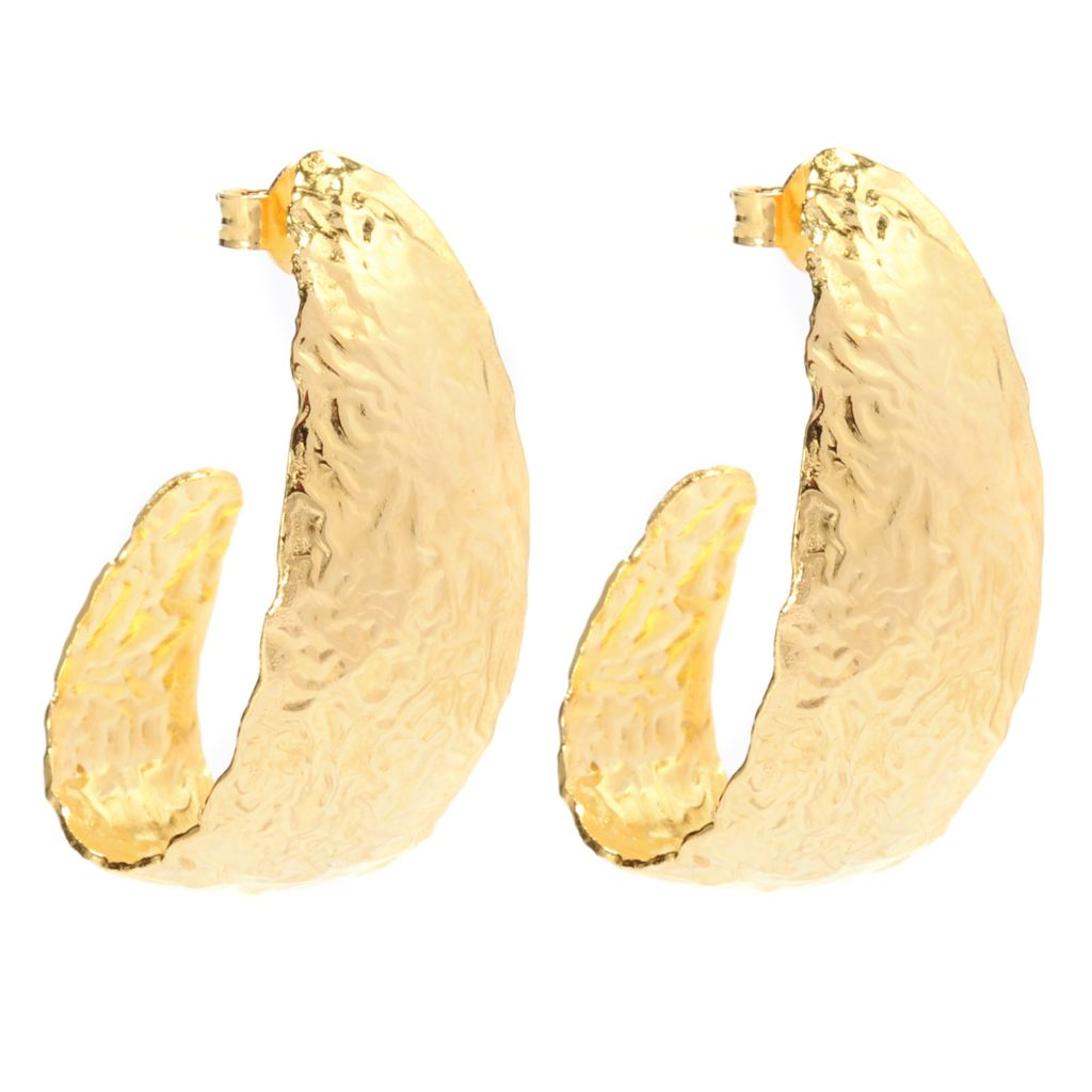 "137-674 - Toscana Italiana 18K Gold Embraced™ 1.25"" Hammered & Elongated J-Hoop Earrings"